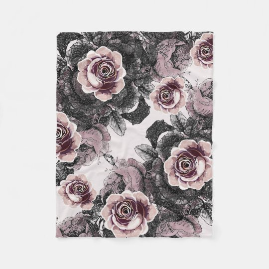 Baby Girl Pink White Black Victorian Rose Pattern