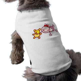 baby girl playing ith toys cartoon sleeveless dog shirt