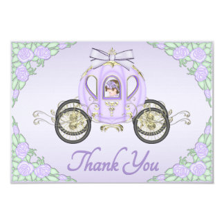 Baby Girl Princess Coach and Roses Lilac Thank You Custom Announcements