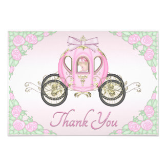 Baby Girl Princess Coach and Roses Pink Thank You Custom Invite