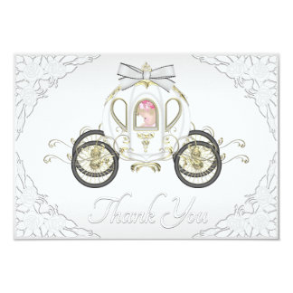 Baby Girl Princess Coach and Roses White Thank You Custom Announcements