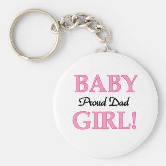 Baby Girl Proud Dad Basic Round Button Key Ring