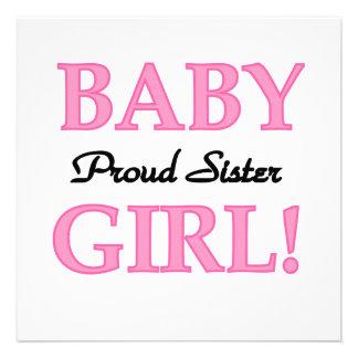 Baby Girl Proud Sister Gifts Custom Invitations