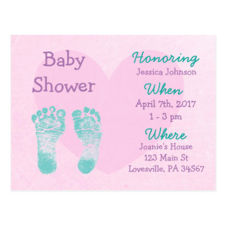 Baby Girl Purple and Pink  Baby Shower Invitation Postcard