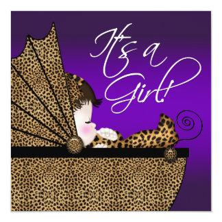 "Baby Girl Purple Leopard Baby Shower Invitation 5.25"" Square Invitation Card"