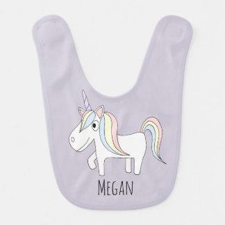 Baby Girl Purple Magical Unicorn with Name Bib