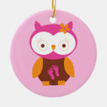 Baby Girl Retro Owl Pink Footprints Mum To Be Gift Christmas Ornament