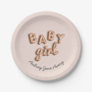 BABY girl! Rose gold paper plate