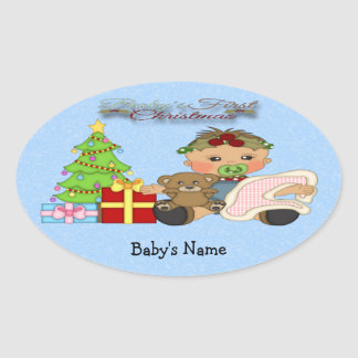 Baby Girl s 1st Christmas Oval Sticker