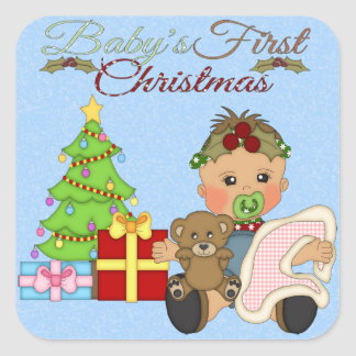 Baby Girl s 1st Christmas Square Sticker