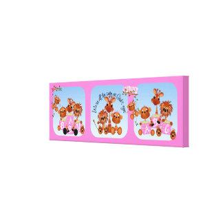 Baby Girl Safari Animals Nursery Canvas Canvas Print
