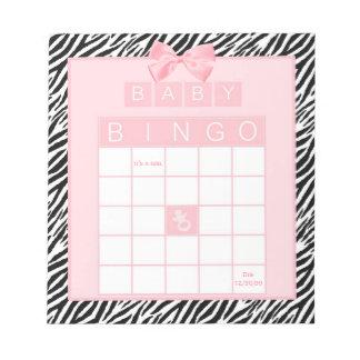 Baby Girl Shower Bingo Pink Ribbon Zebra Print Notepad