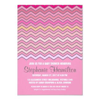 "Baby girl shower colorful chevron 4.5"" x 6.25"" invitation card"
