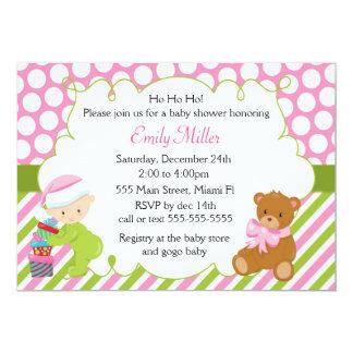 Baby Girl Shower Invitation Christmas Teddy Bear