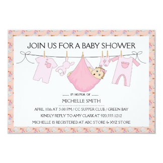 Baby Girl Shower Invitation - Clothes Line Design