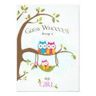 Baby Girl Shower Invitation - Owl Family
