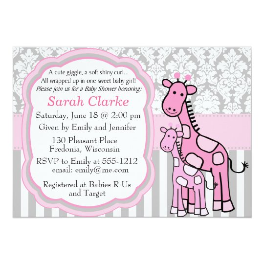 Baby Girl Shower Invitation pink giraffe customise