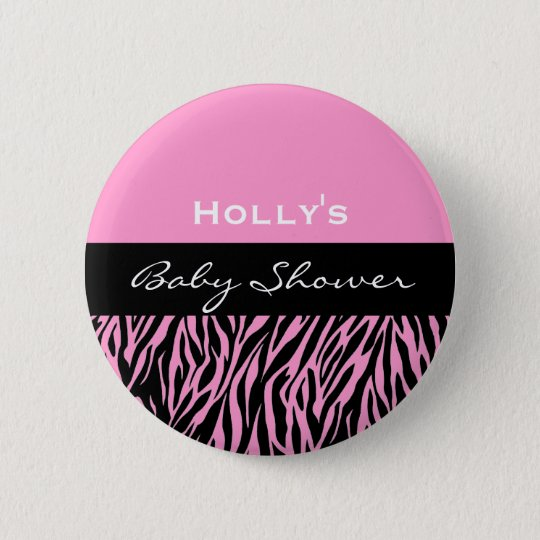 Baby Girl Shower Modern Black White Pink Zebra v2 6 Cm Round Badge