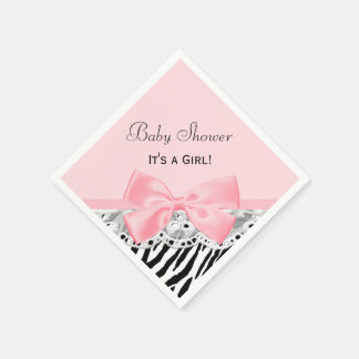 Baby Girl Shower Pink Ribbon and Lace Zebra Print Paper Serviettes