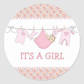 Baby Girl Shower Stickers - Clothes Line Design