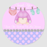 BABY GIRL SHOWER THANK YOU FAVOR STICKERS