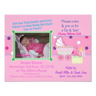 Baby Girl Sip & See Shower Invitation