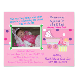 Baby Girl Sip & See Shower Invitation