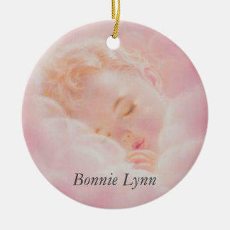 Baby Girl Sleeping Clouds Personalized Pink Christmas Ornament