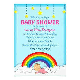 Baby girl sleeping under a Rainbow Baby Shower Custom Invitations