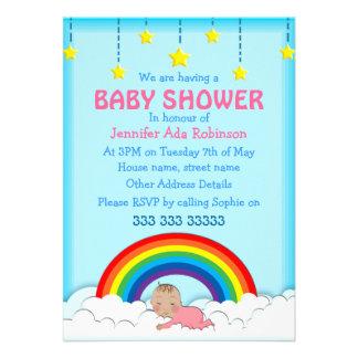 Baby Girl sleeping under a Rainbow Baby shower Invites