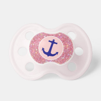 Baby Girl Sparkle and Anchor Pacifier