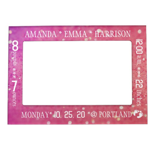 Baby Girl Stats Birth Announcement Photo Frame