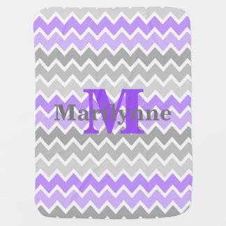Baby Girl Stats Monogram Purple Grey Gray Chevron Receiving Blankets