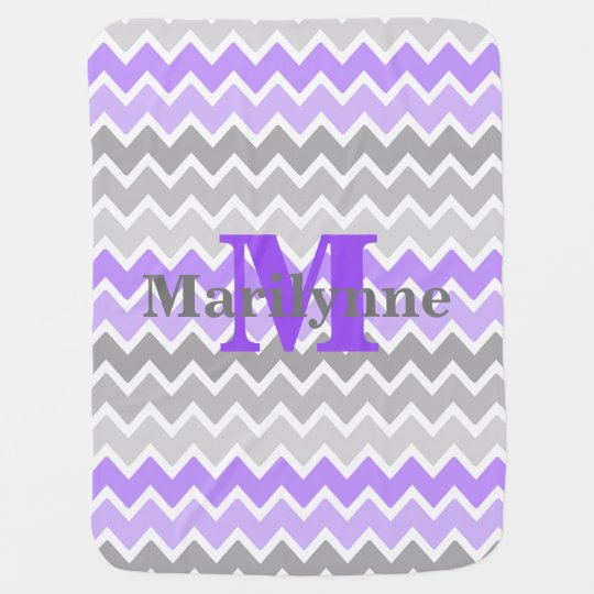 Baby Girl Stats Monogram Purple Grey Grey Chevron