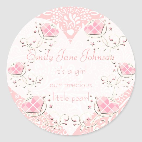 Baby Girl Stickers with vintage Stork