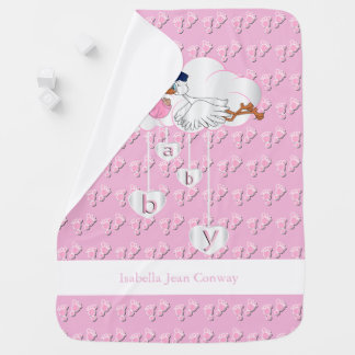 Baby Girl Stork Baby Blanket