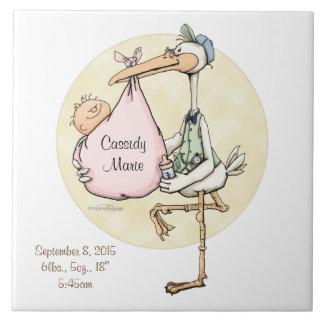 Baby Girl Stork Delivery Custom Tile