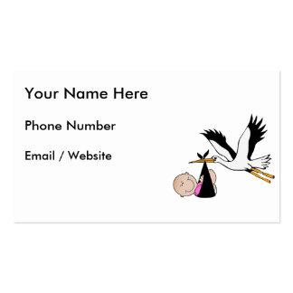 Baby Girl & Stork - Newborn Business Card