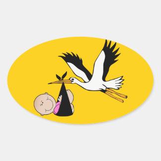 Baby Girl & Stork - Newborn Oval Sticker