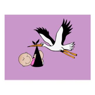 Baby Girl & Stork - Newborn Postcard