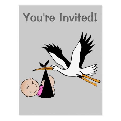 Baby Girl & Stork - Newborn Post Cards