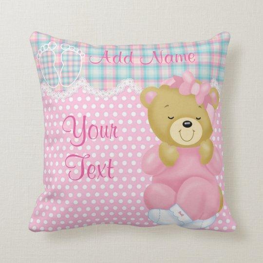 """""""Baby Girl Teddybear"""" Throw Pillow"""