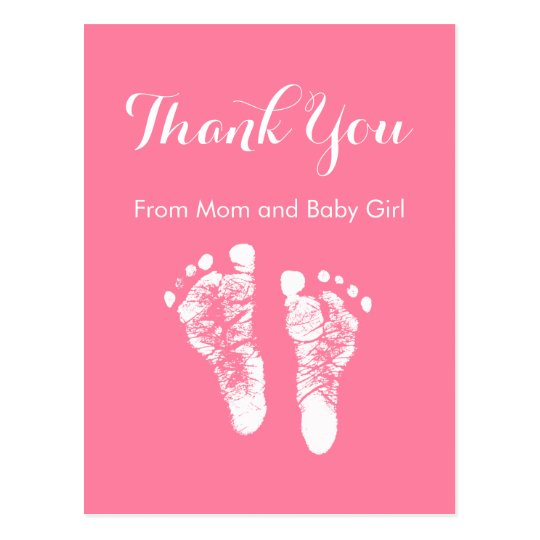 Baby Girl Thank You Cute Pink Newborn Footprints