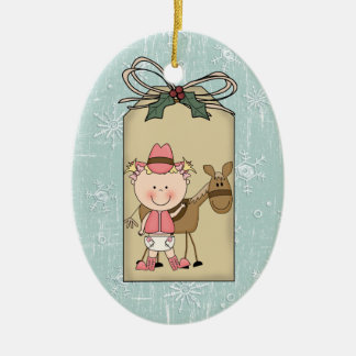Baby Girl Toddler Child Cowgirl Pony Gift Tag Christmas Ornament