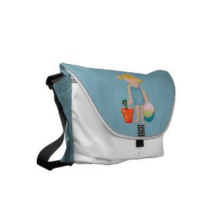 Baby Girl Toddler on Summer Beach Birthday Blue Commuter Bags