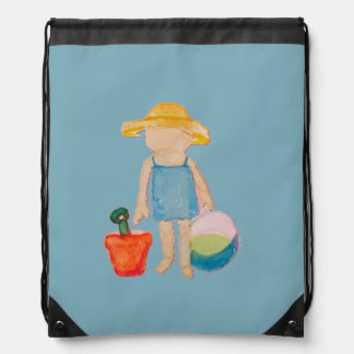 Baby Girl Toddler on Summer Beach Birthday Blue Drawstring Bag