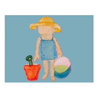 Baby Girl Toddler on Summer Beach Birthday Blue Postcard
