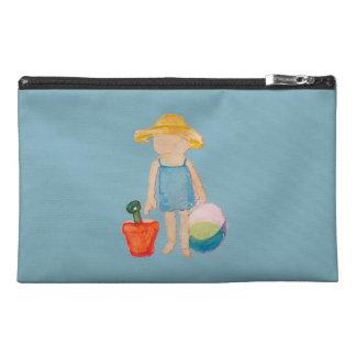Baby Girl Toddler on Summer Beach Birthday Blue Travel Accessory Bag