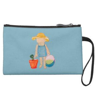Baby Girl Toddler on Summer Beach Birthday Blue Wristlet Purse