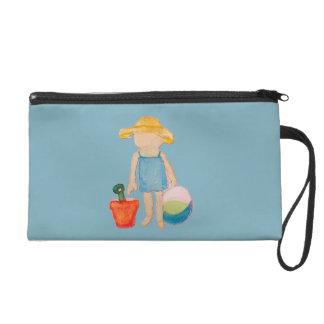 Baby Girl Toddler on Summer Beach Birthday Blue Wristlet Purses